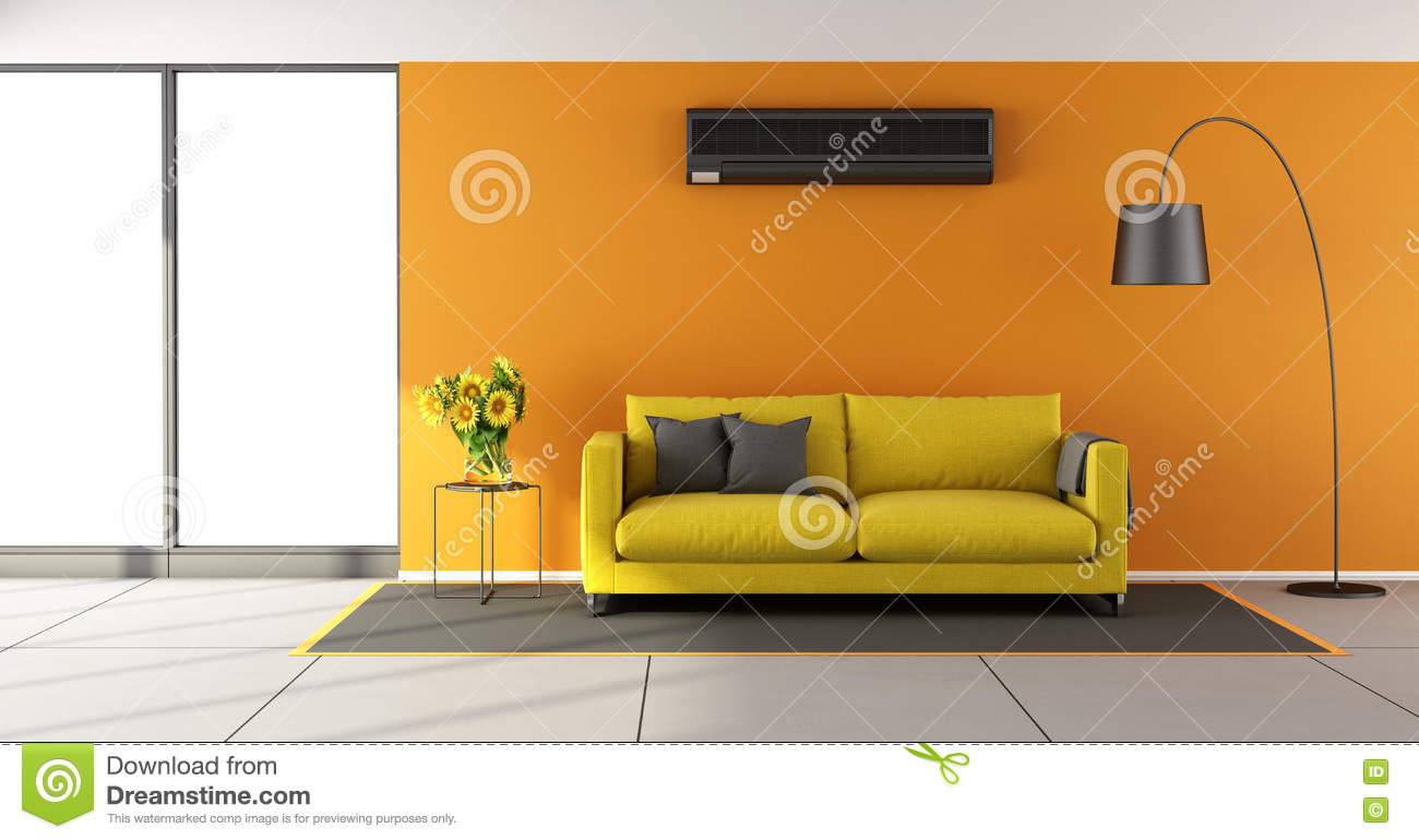 Orange Living Room With Air Conditioner Royalty Free Stock Images