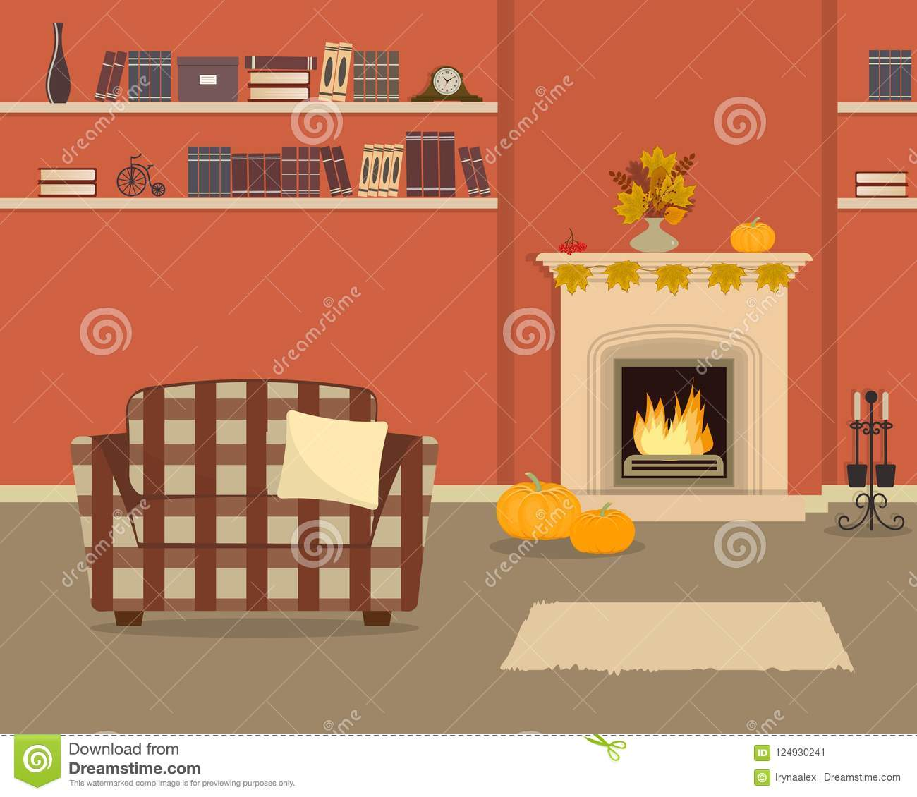 Orange Living Room With Fireplace. Autumn Decor In The ...