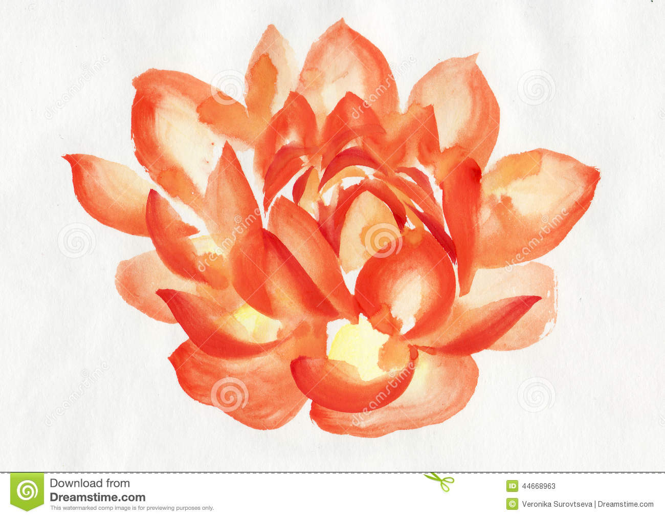 Orange lotus flower watercolor painting stock illustration orange lotus flower watercolor painting izmirmasajfo