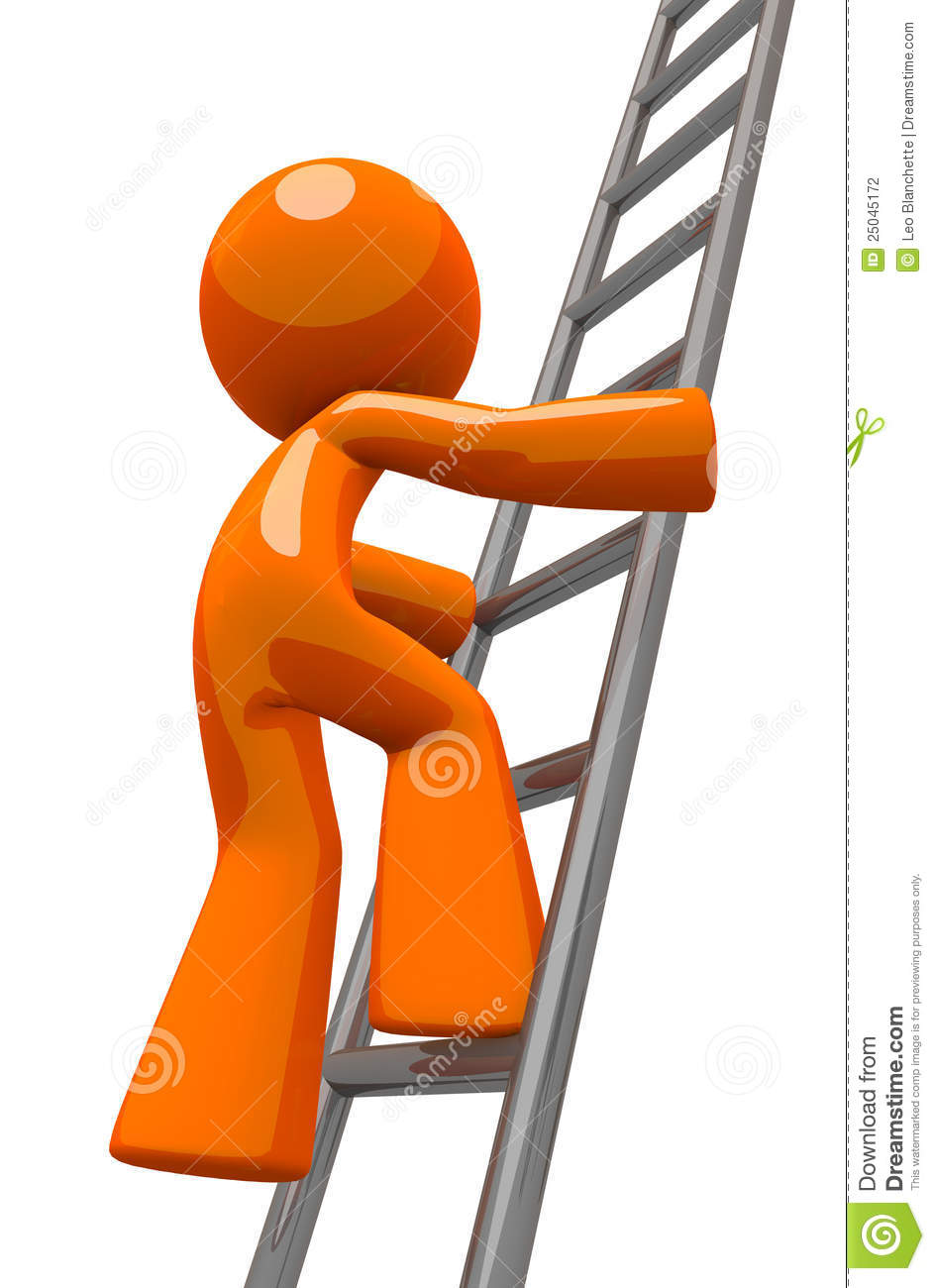 Orange Man Climbing Ladder Industrial Stock Illustration