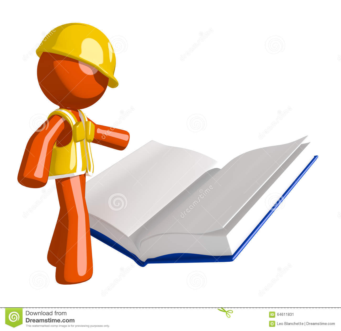 Orange man construction worker reading open book stock for How to read construction site plans