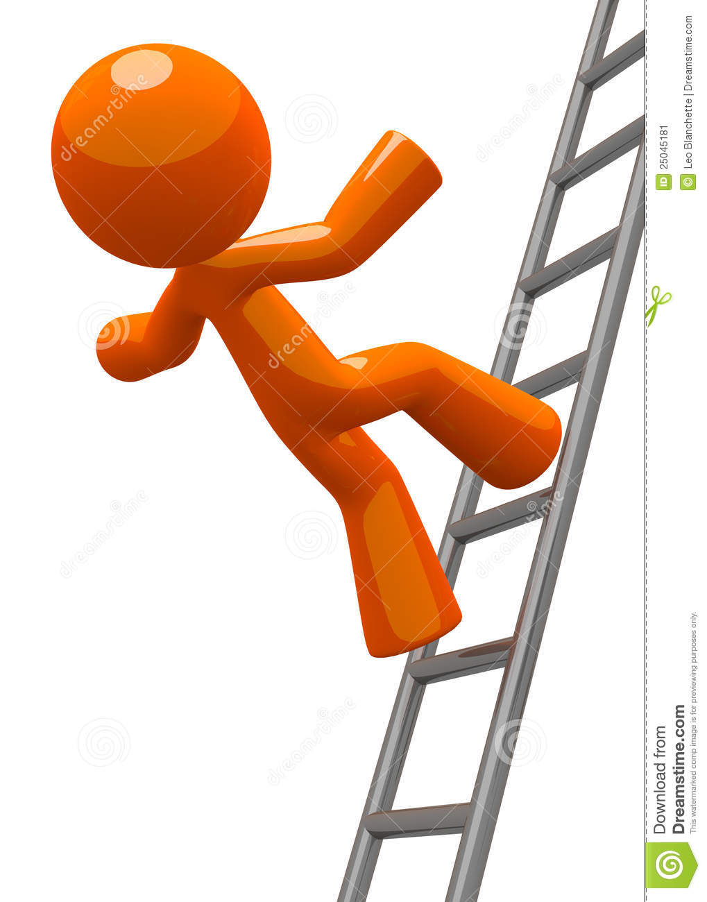Orange Man Falling From Ladder Accident Stock Image - Image: 25045181