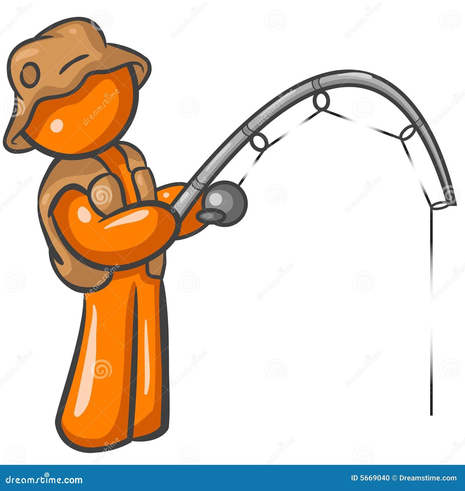 Cartoon of an orange man fishing with a fishing rod.