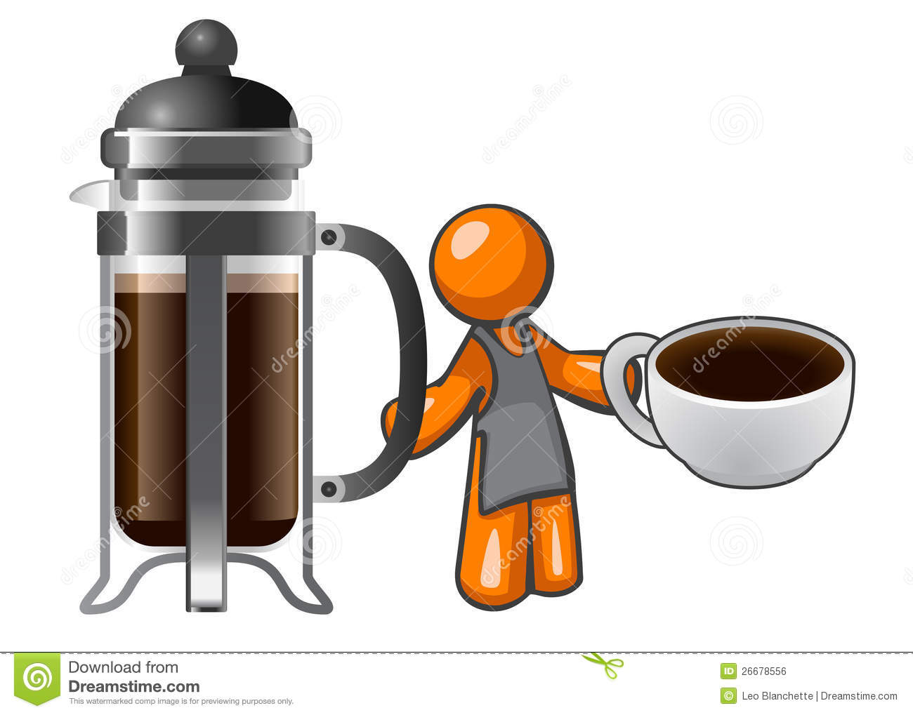 Leo French Press Coffee Maker : Orange Man With French Press And Coffee Cup Royalty Free Stock Image - Image: 26678556