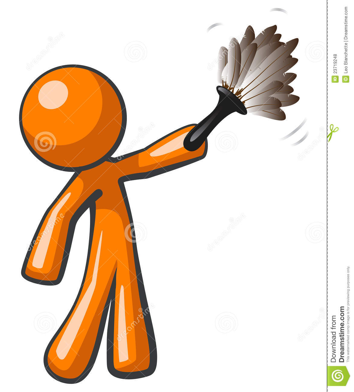 Orange Man Holding Feather Duster Royalty Free Stock