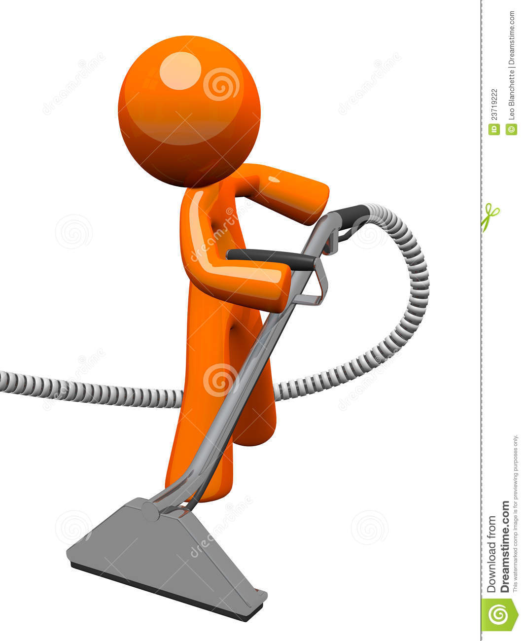 Orange Man With Steam Cleaner Carpet Wand Stock