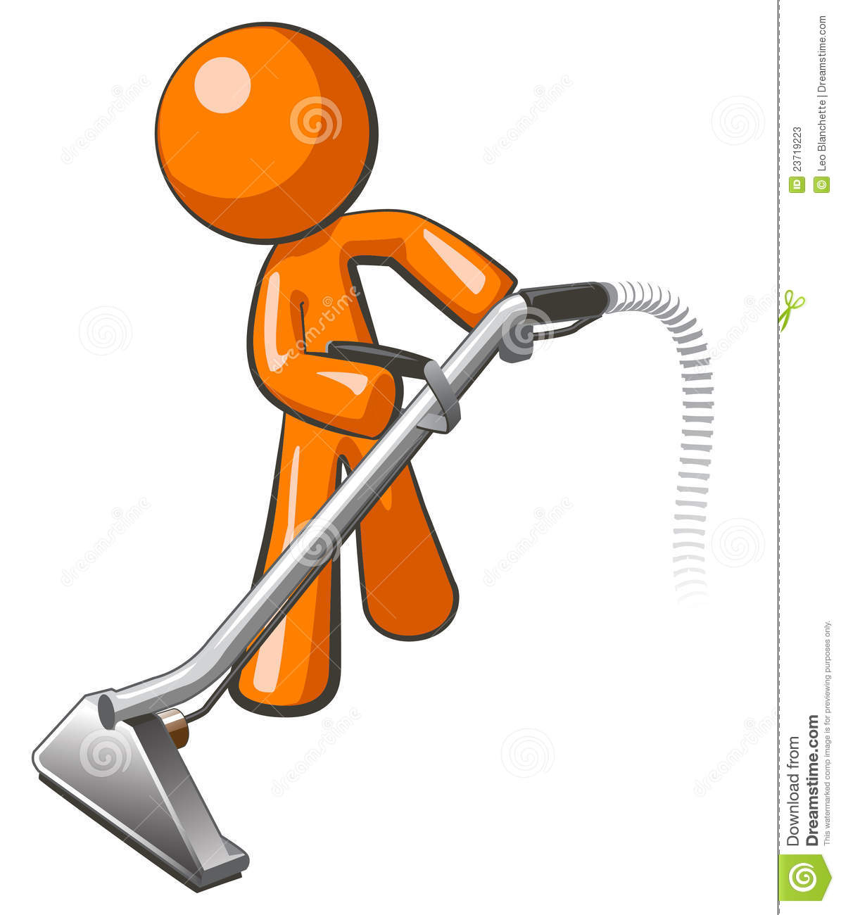 Orange Man With Steam Cleaner Carpet Wand Stock Photos