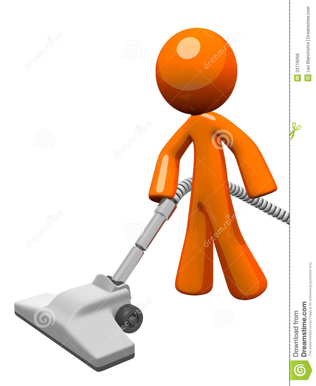 Orange Man Vacuuming 3d Render Stock Illustration Image