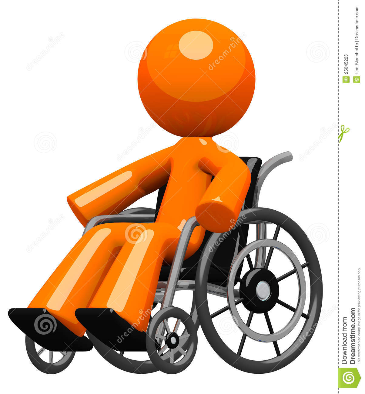 Orange Man In Wheel Chair Disabled Or Impaired Stock Illustration ...