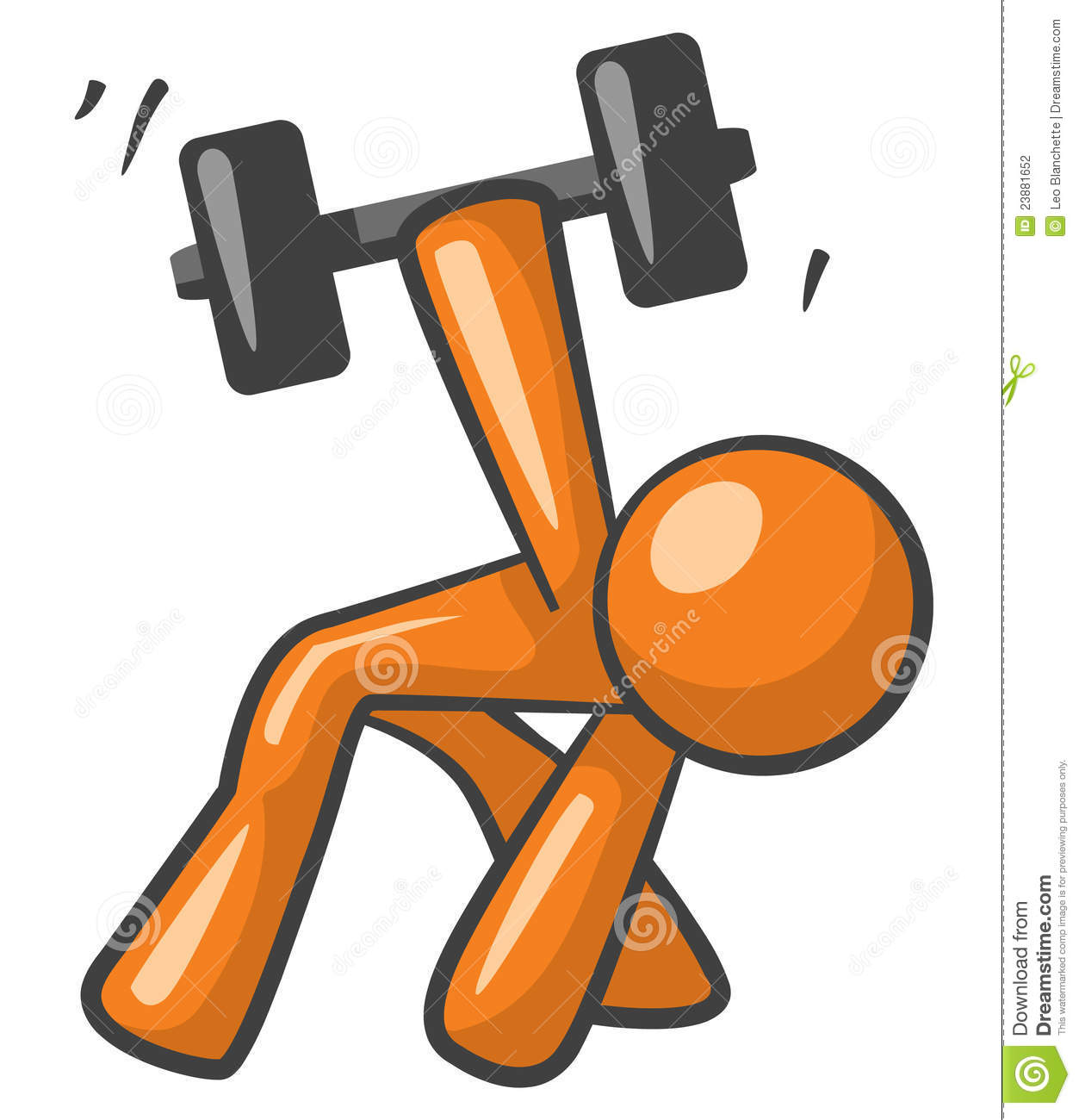 Working Out: Orange Man Working Out With Dumb Bells Stock Illustration