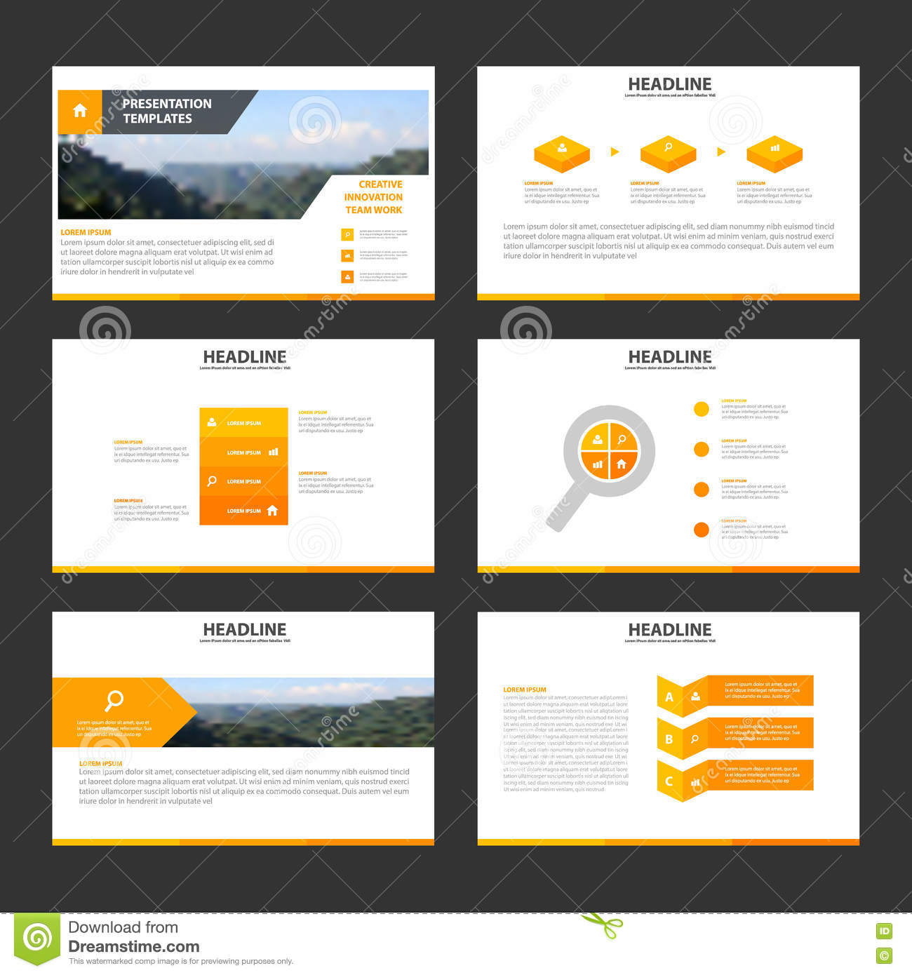 orange minimal presentation templates infographic elements flat, Templates
