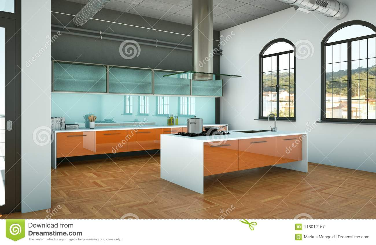 Orange Modern Kitchen In A Loft With A Beautiful Design Stock Image ...