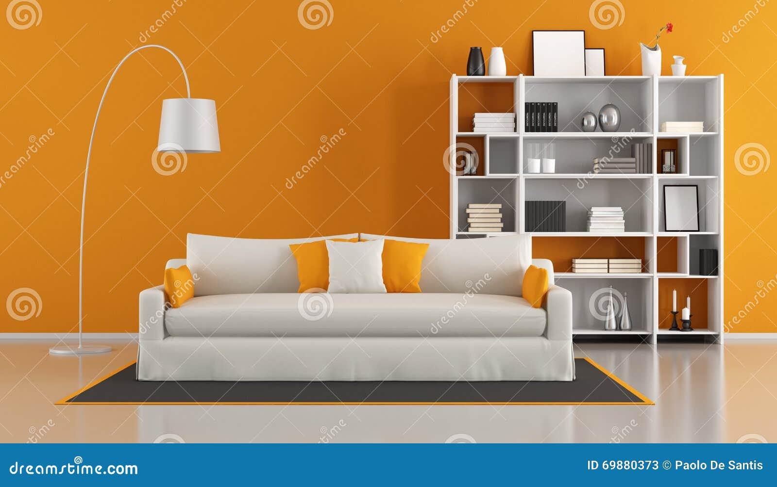 Orange modern living room stock illustration image 69880373 - Meuble tv living salon ...