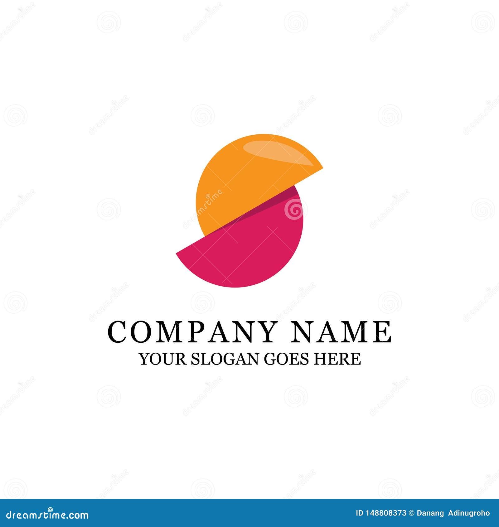Orange moderne de cercle et conception pourpre de logo