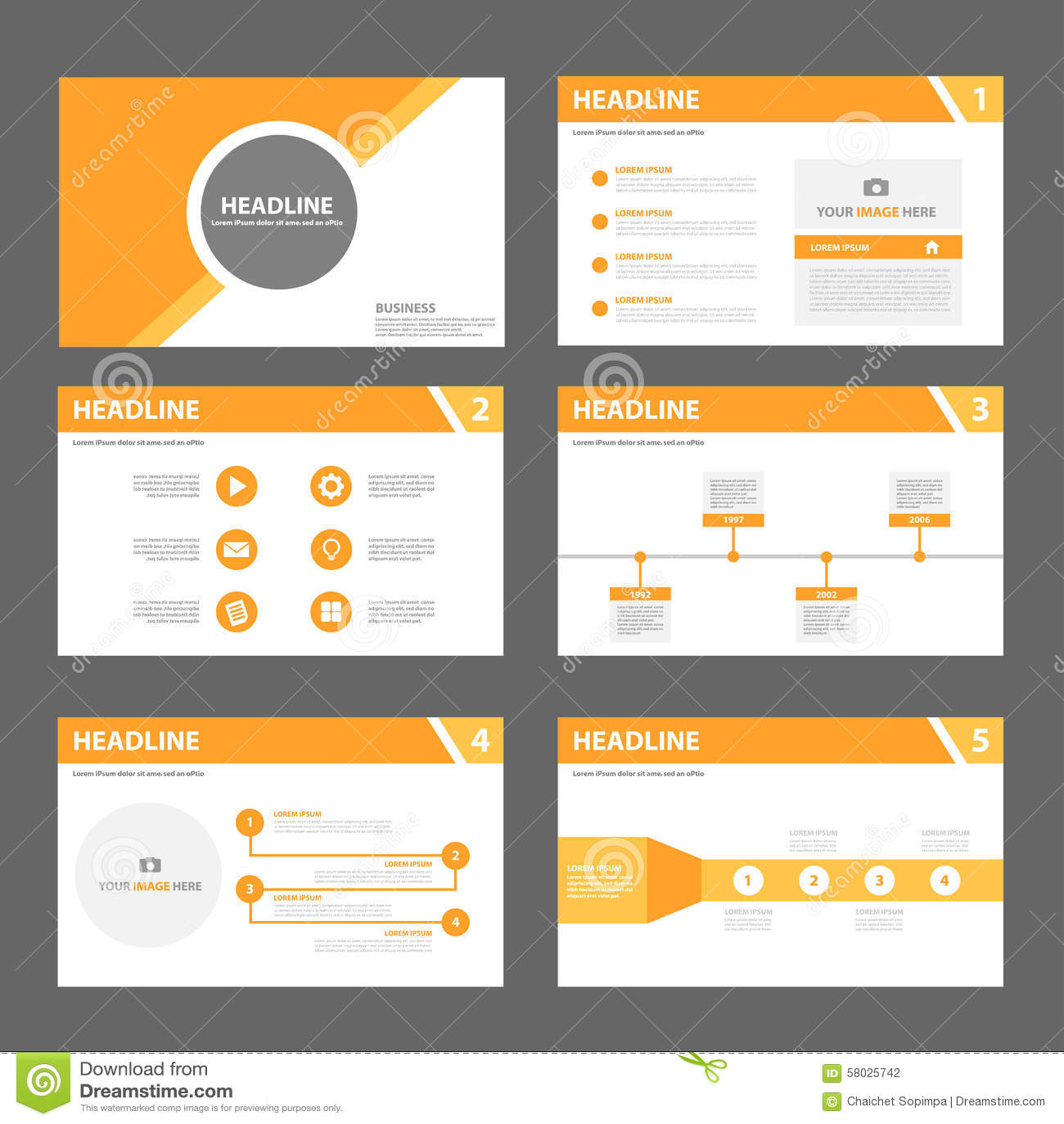 orange multipurpose brochure flyer leaflet template flat