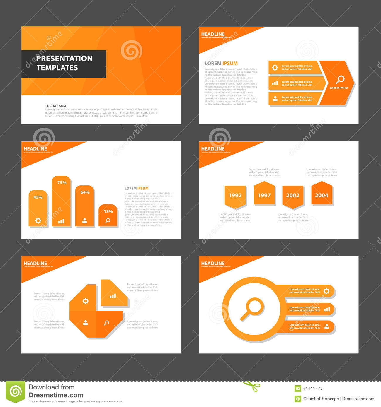 Orange Infographic elements and icon presentation template flat design set for advertising marketing brochure flyer leaflet