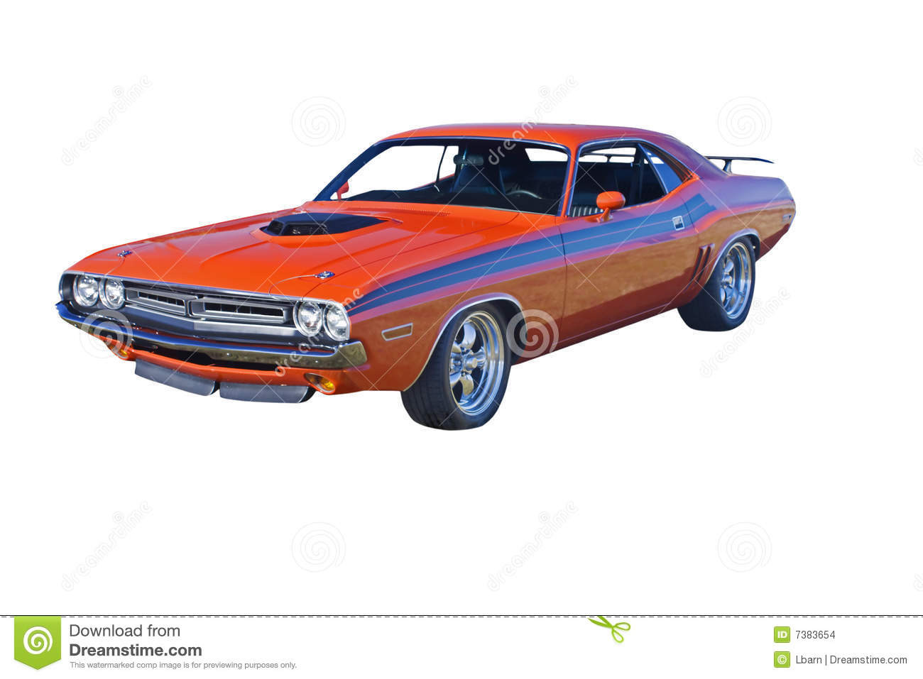 Orange Muscle Car With Black Stripes Stock Photo Image Of American