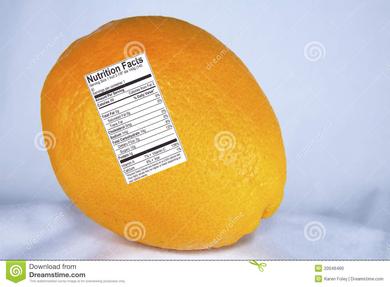 orange with nutrition label stock photo - image of carbohydrate