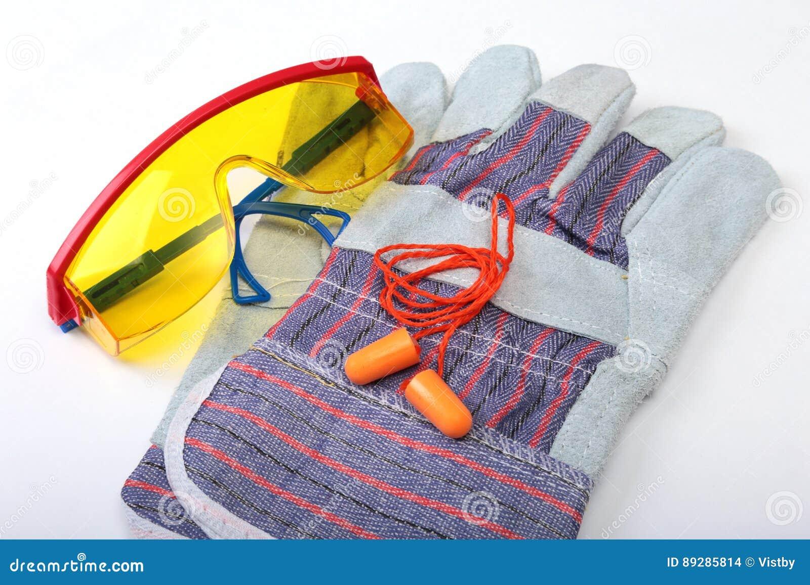 Orange Ohrenpfropfen, Schutzhelm, Sicherheitsgläser, Handschuhe ...
