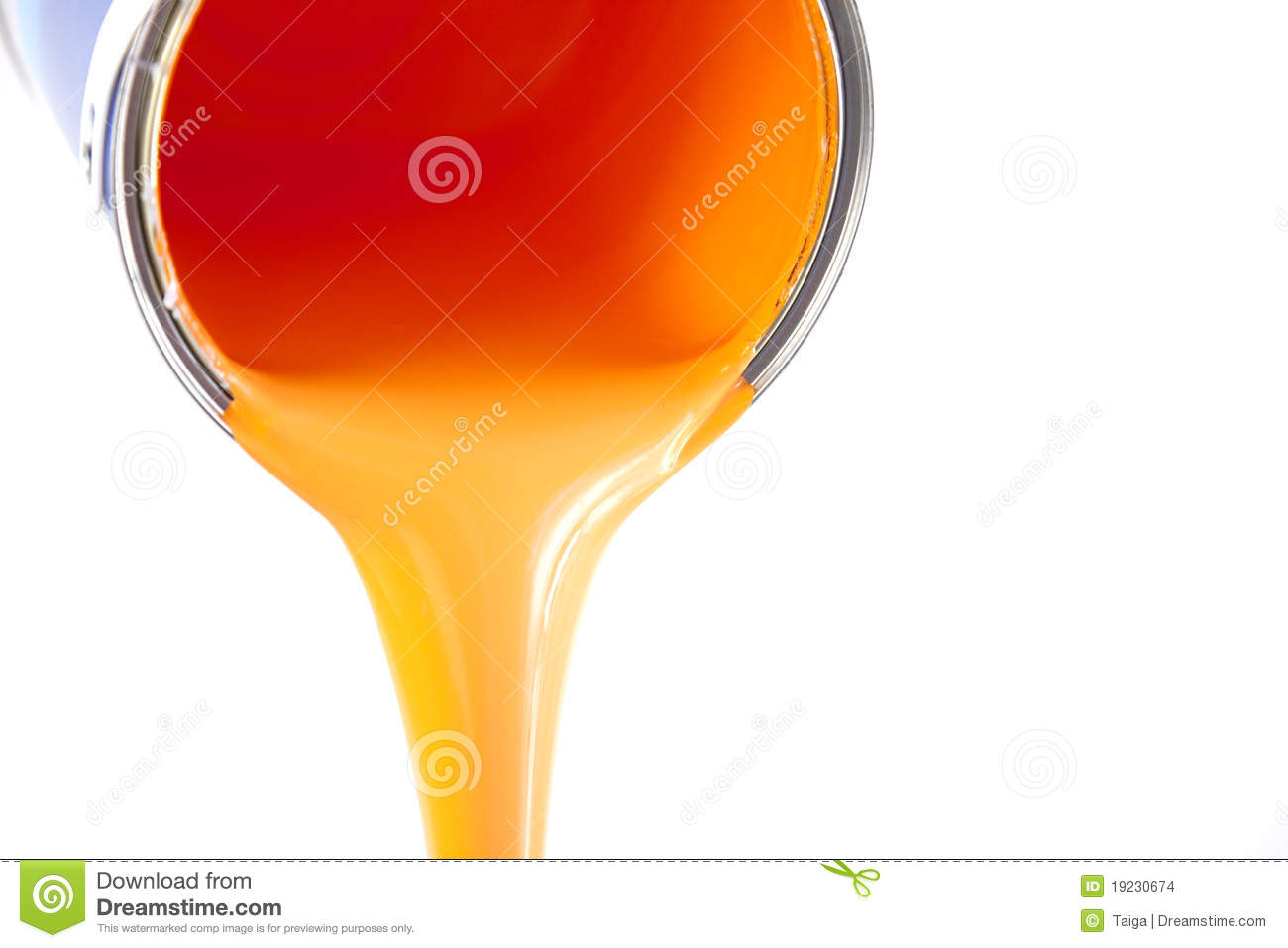Orange Paint Orange Paint Flows From The Bucket Stock Images  Image 19230674