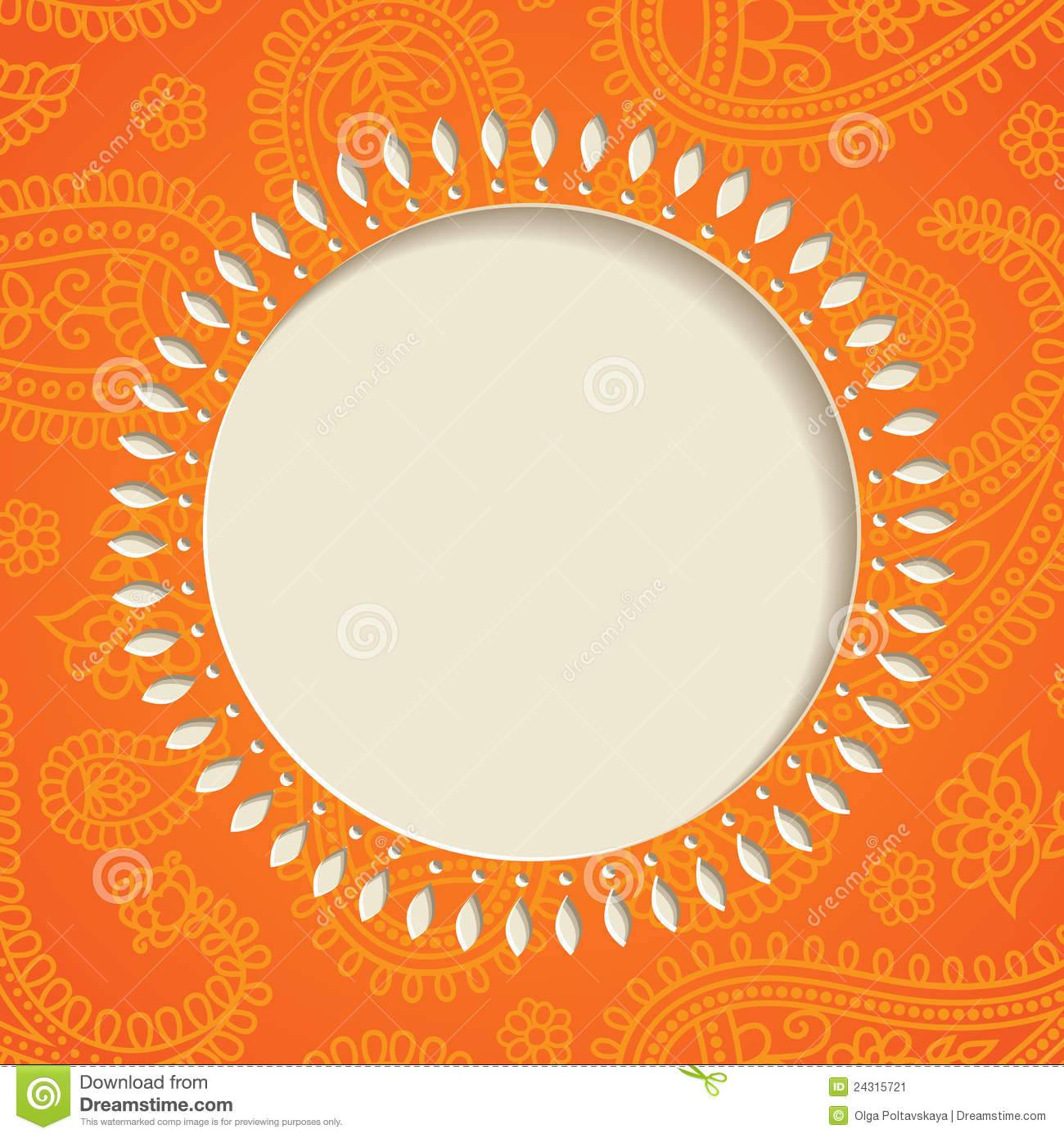orange paisley frame stock vector illustration of illustration