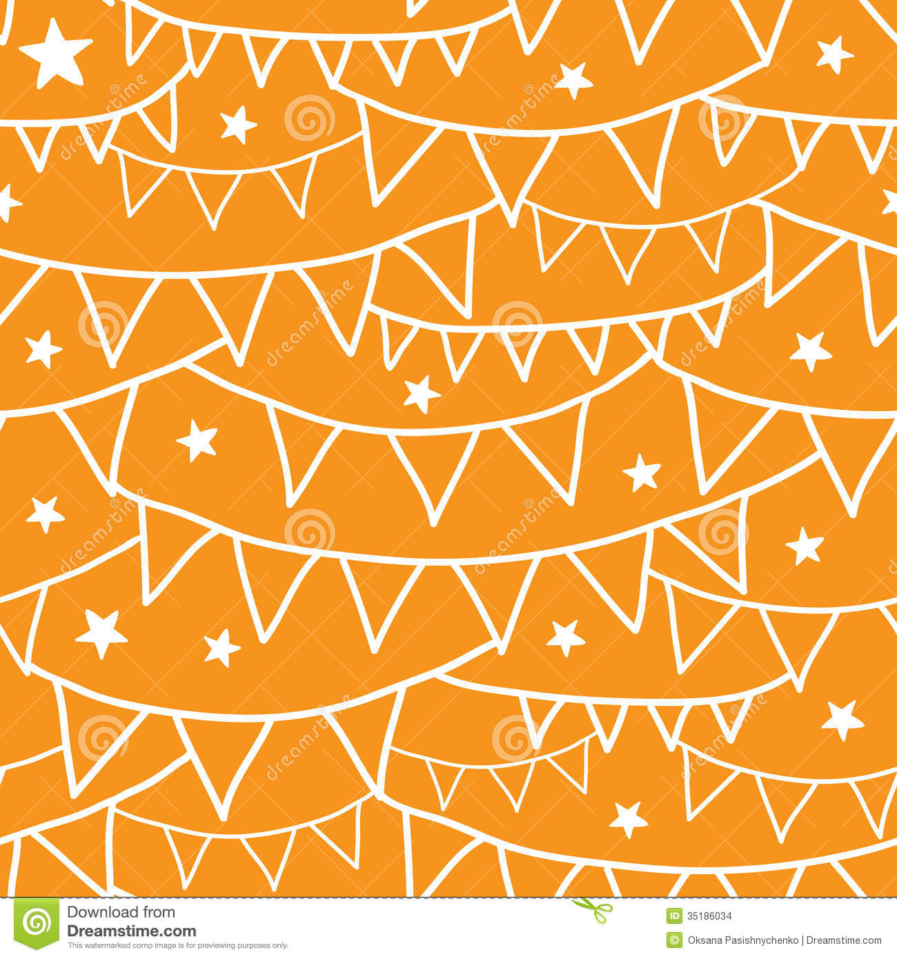 Orange Party Bunting Seamless Pattern Background Stock