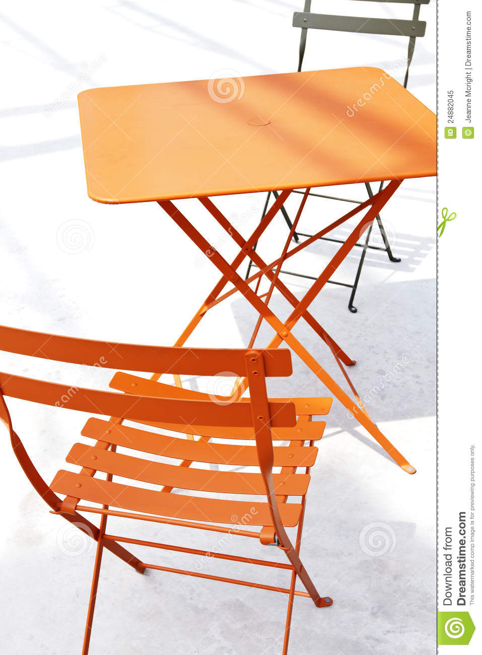 Orange Patio Chairs orange patio chair and table with shadow royalty free stock photo