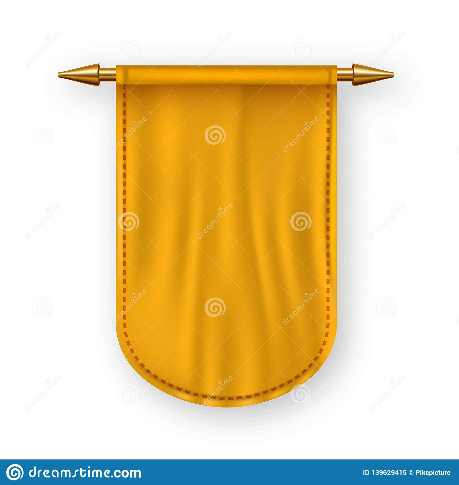 Orange Pennat Flag Vector. Advertising Canvas Banner. Hanging Wall Pennat. Heraldic 3D Realistic Isolated Illustration