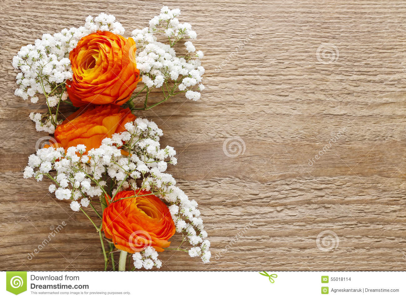 Orange persian buttercup flower and babys breath on wood stock download orange persian buttercup flower and babys breath on wood stock photo image of birthday izmirmasajfo