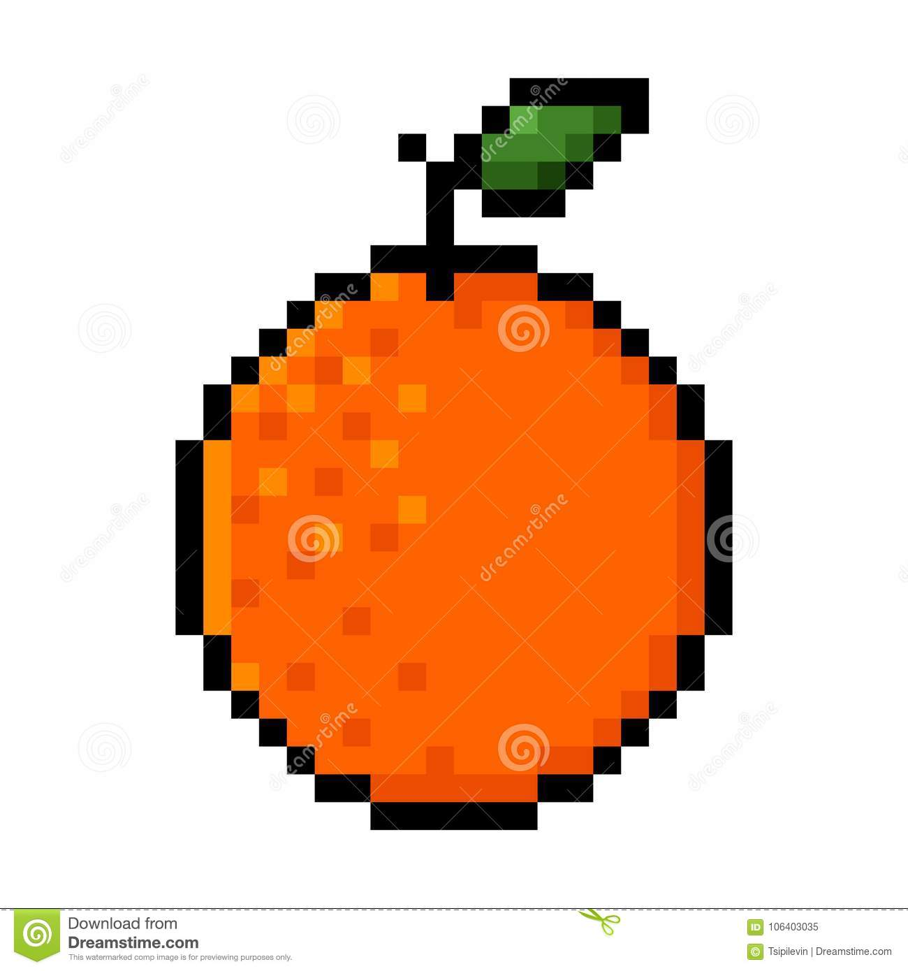 Orange Pixel Art Stock Illustration Illustration Of Design