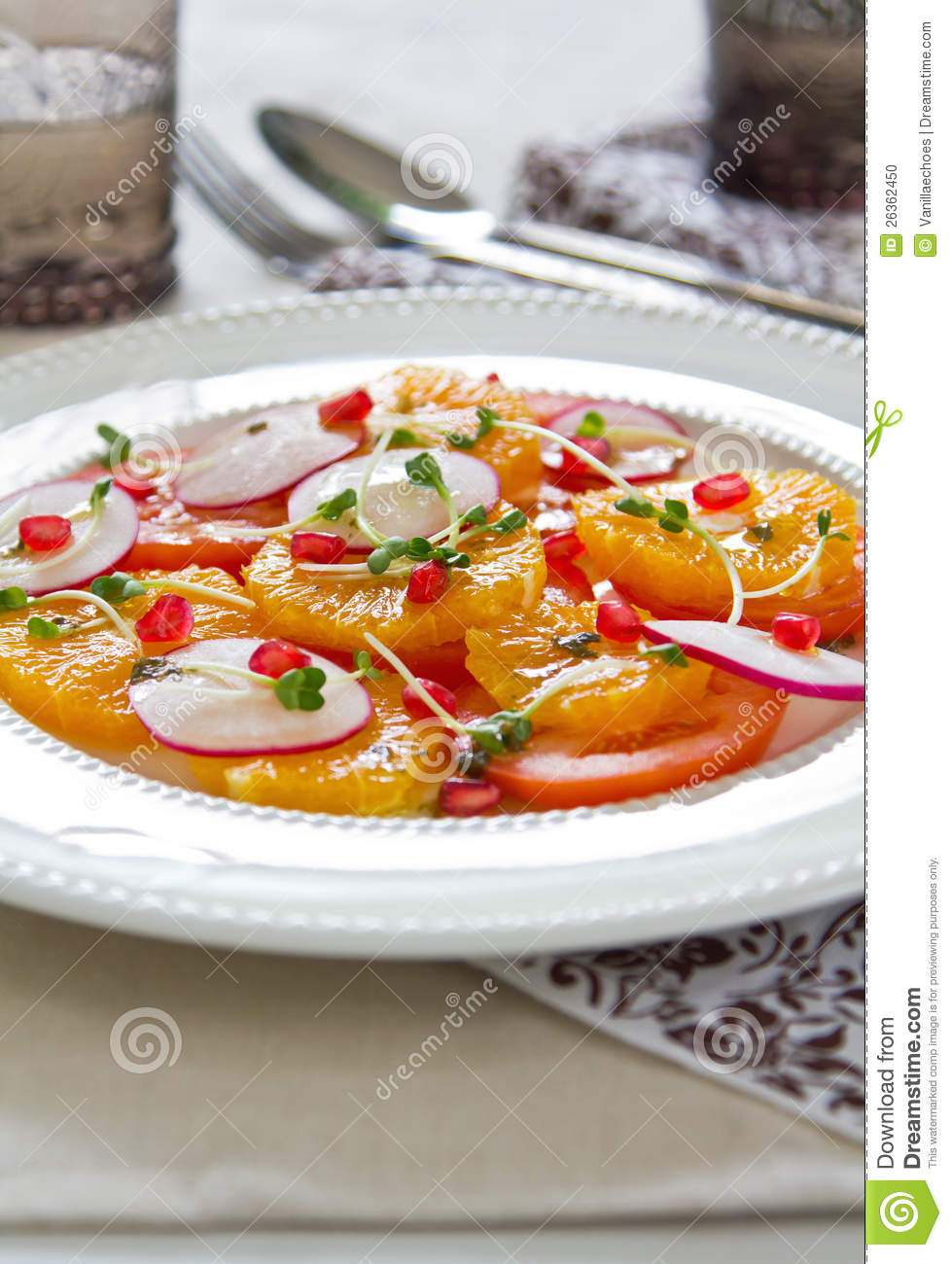 Orange,Pomegranate And Tomato Salad Stock Photo - Image: 26362450