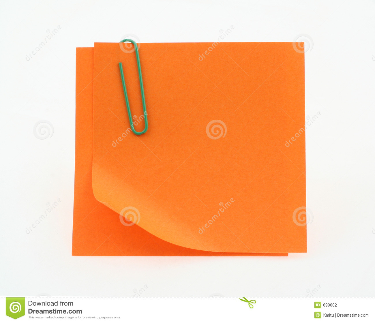 Orange Post-it Notes With A Bent Corner On White Stock ...