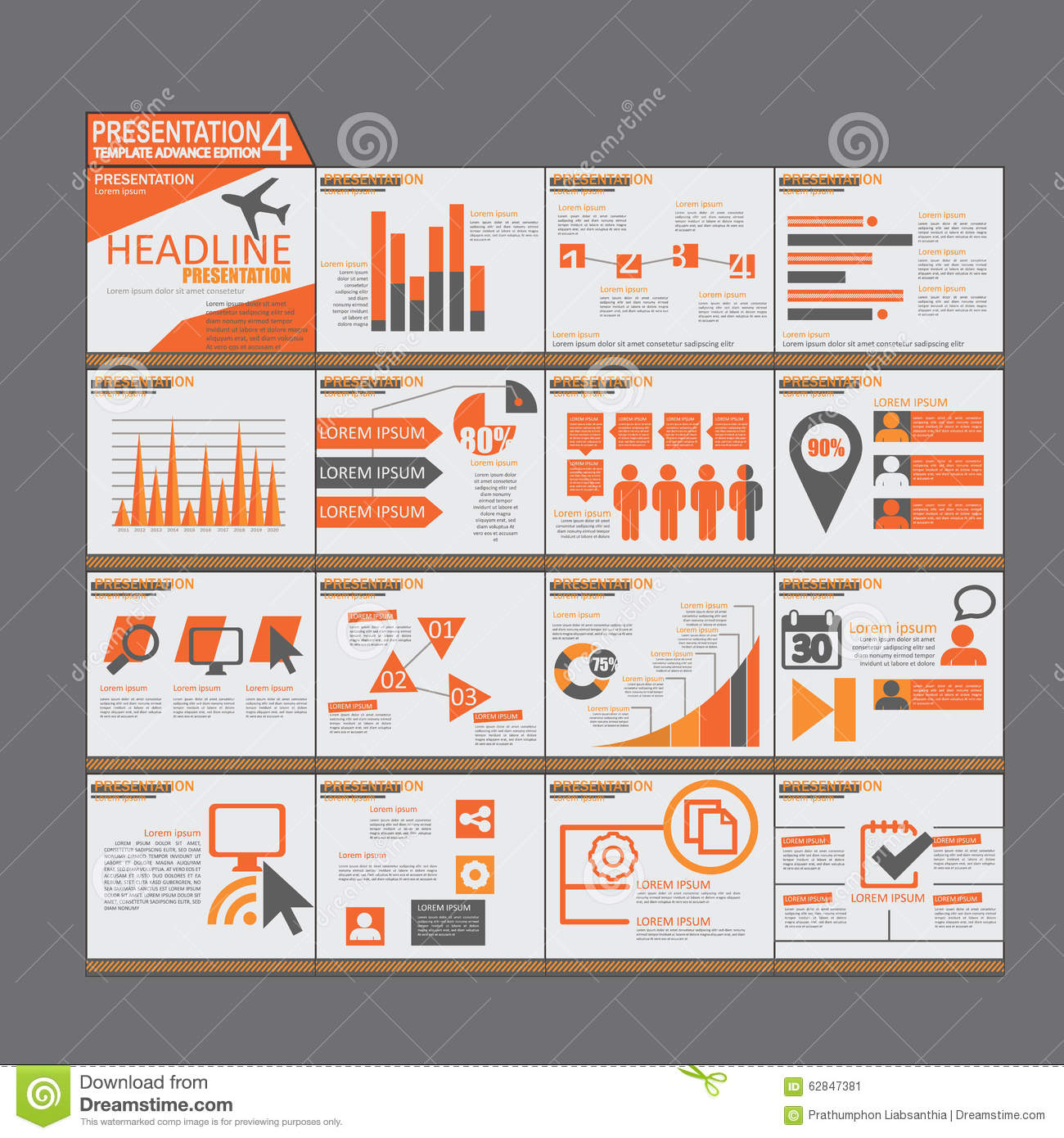 orange presentation infographic elements template flat design, Powerpoint templates