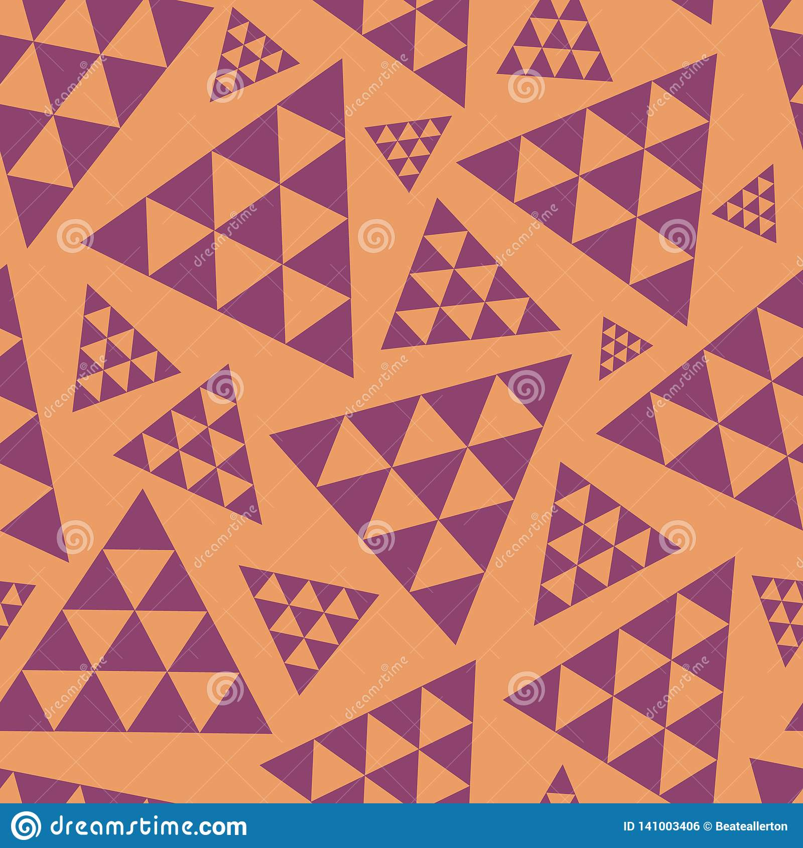 Orange and purple random triangle repeat vector pattern. Modern lively boho vibe. Great for yoga, beauty products, home
