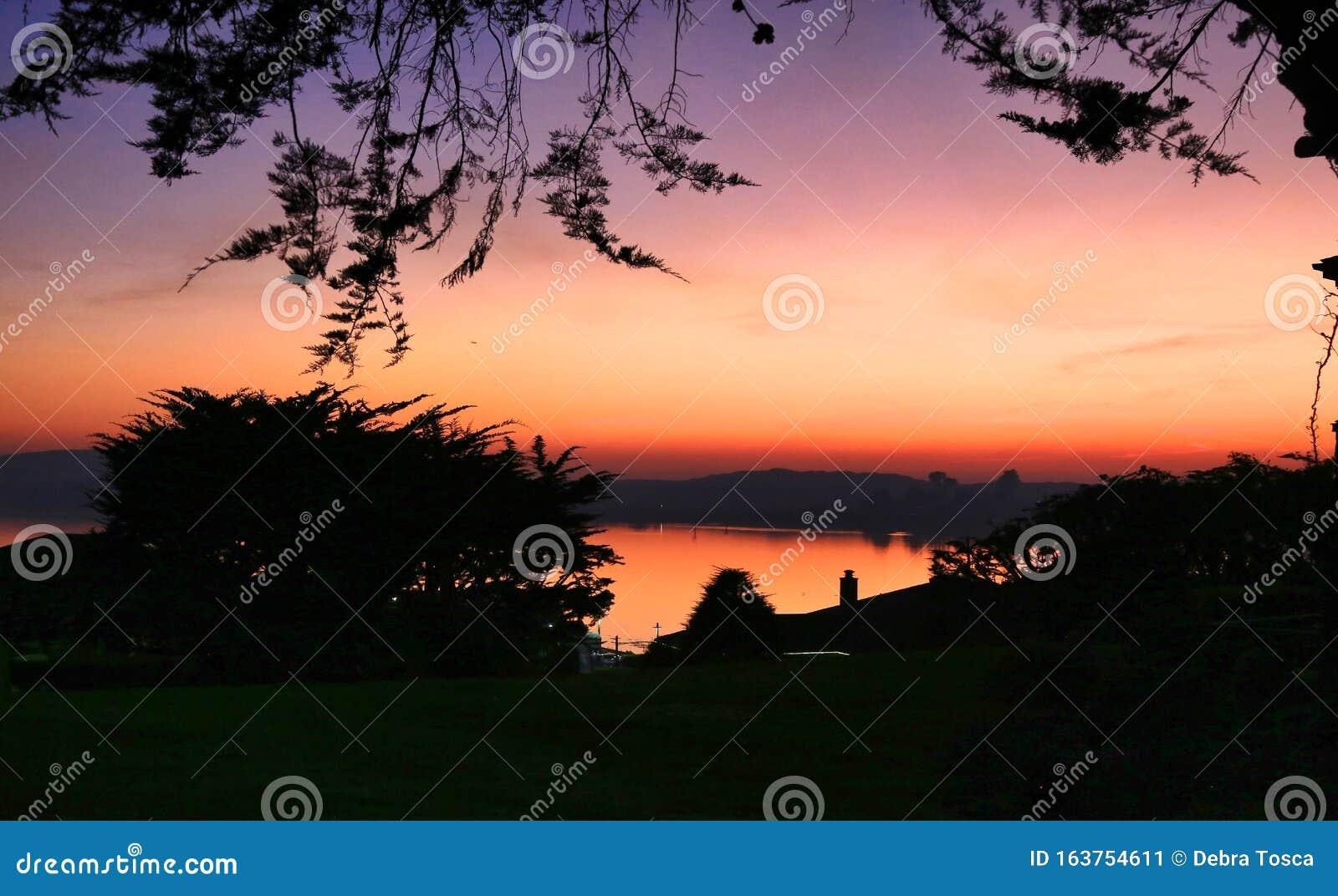 Orange Purple Sunset Bodega Bay California Stock Image Image Of Pacific California 163754611