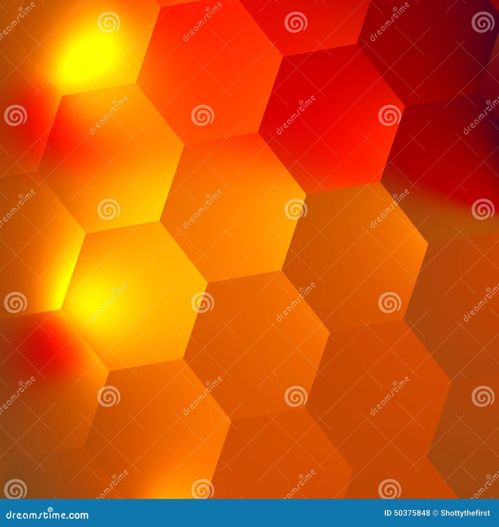 Orange Red Abstract Hexagons Background. Bright Light Effect in Dark. Honeycomb Backdrop. Minimal Style Digital Design. Flat.