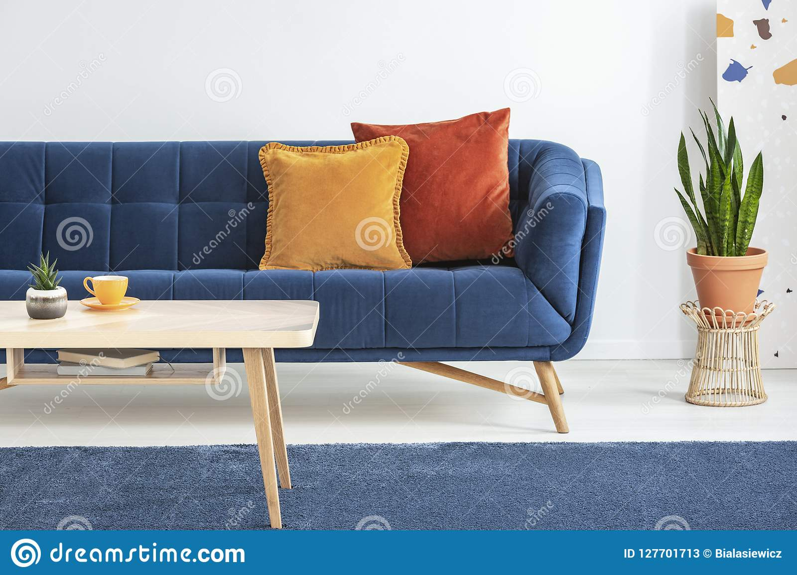 Awe Inspiring Orange And Red Cushions On A Fancy Navy Blue Sofa And A Ncnpc Chair Design For Home Ncnpcorg