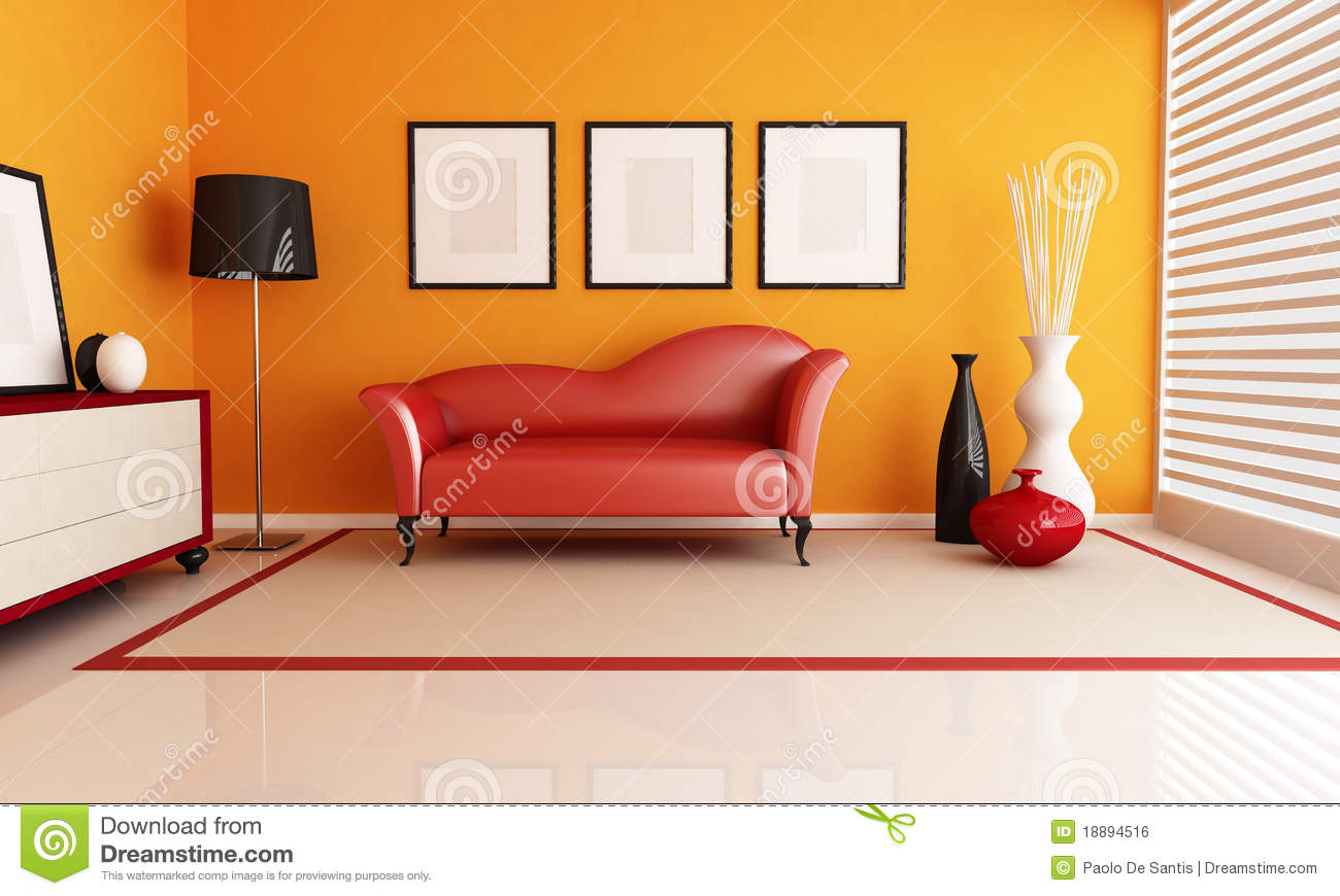 Royalty Free Stock Photo. Download Orange And Red Living Room ... Part 36