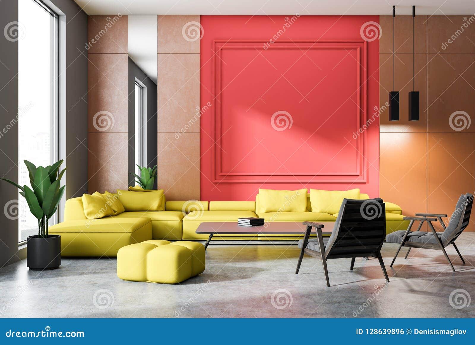 Orange And Red Living Room Yellow Sofa Stock Illustration