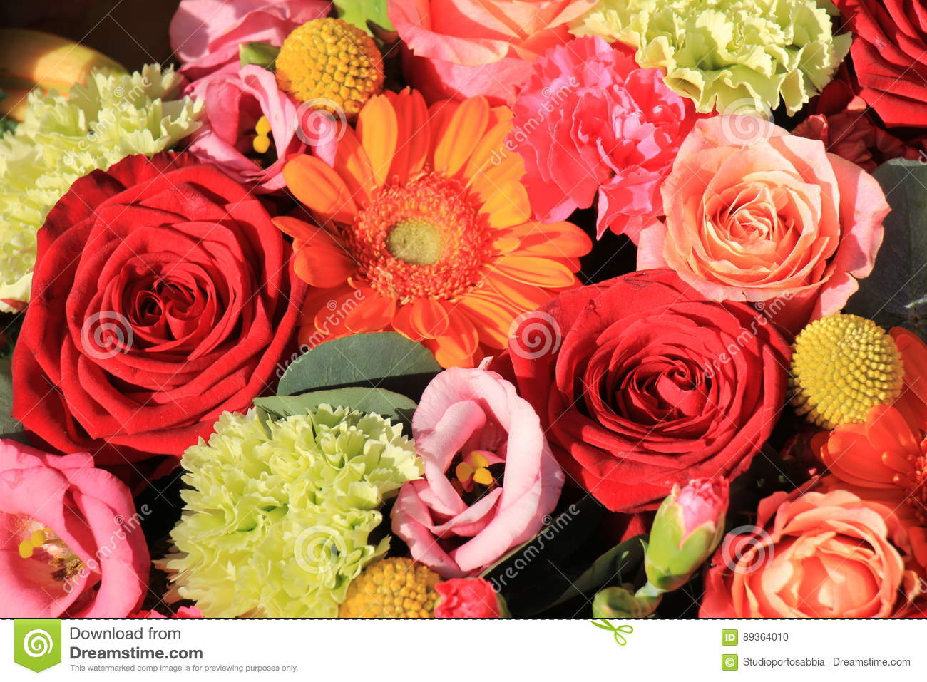 Orange And Red Wedding Flowers Stock Photo Image Of Pink
