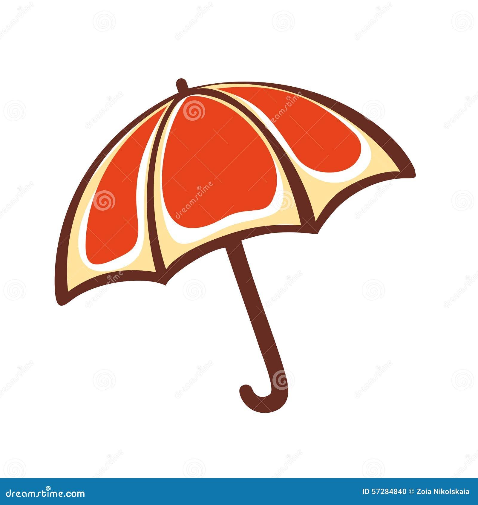 Orange Regenschirm emblem pictogram ikone