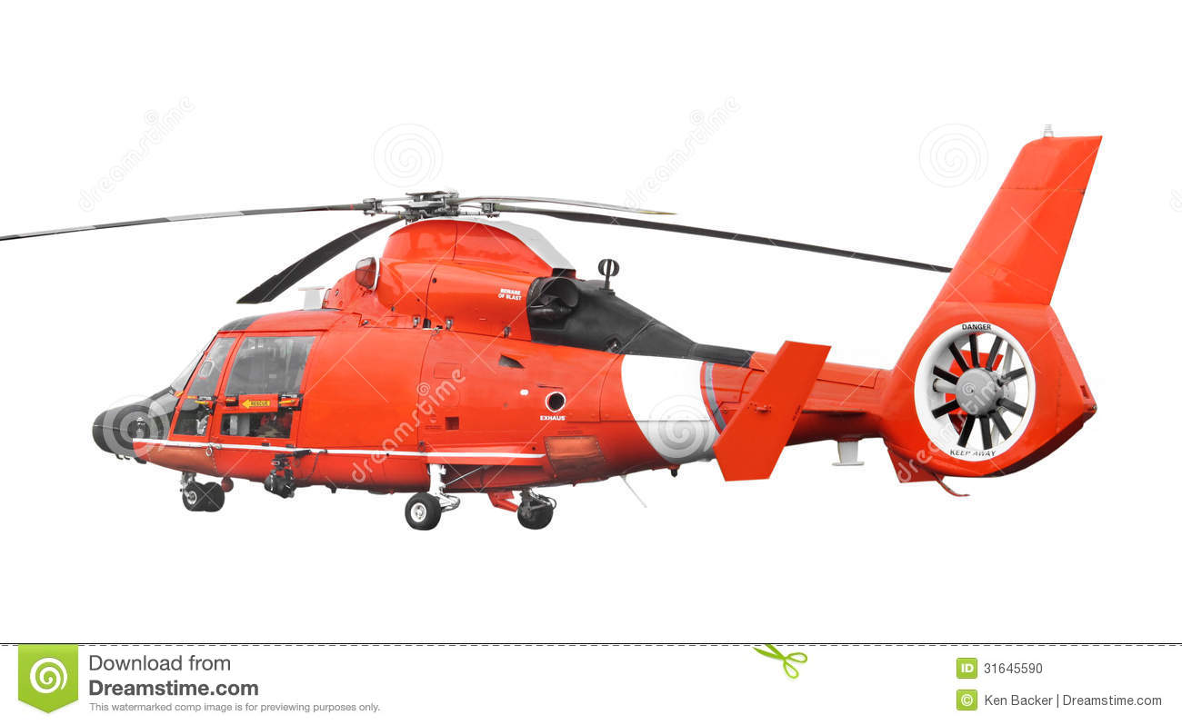 Orange Rescue Helicopter Isolated Stock Photo Image
