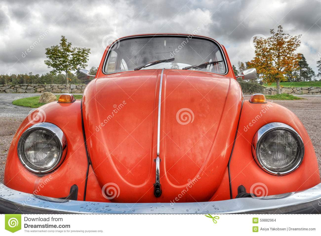 Orange retro car