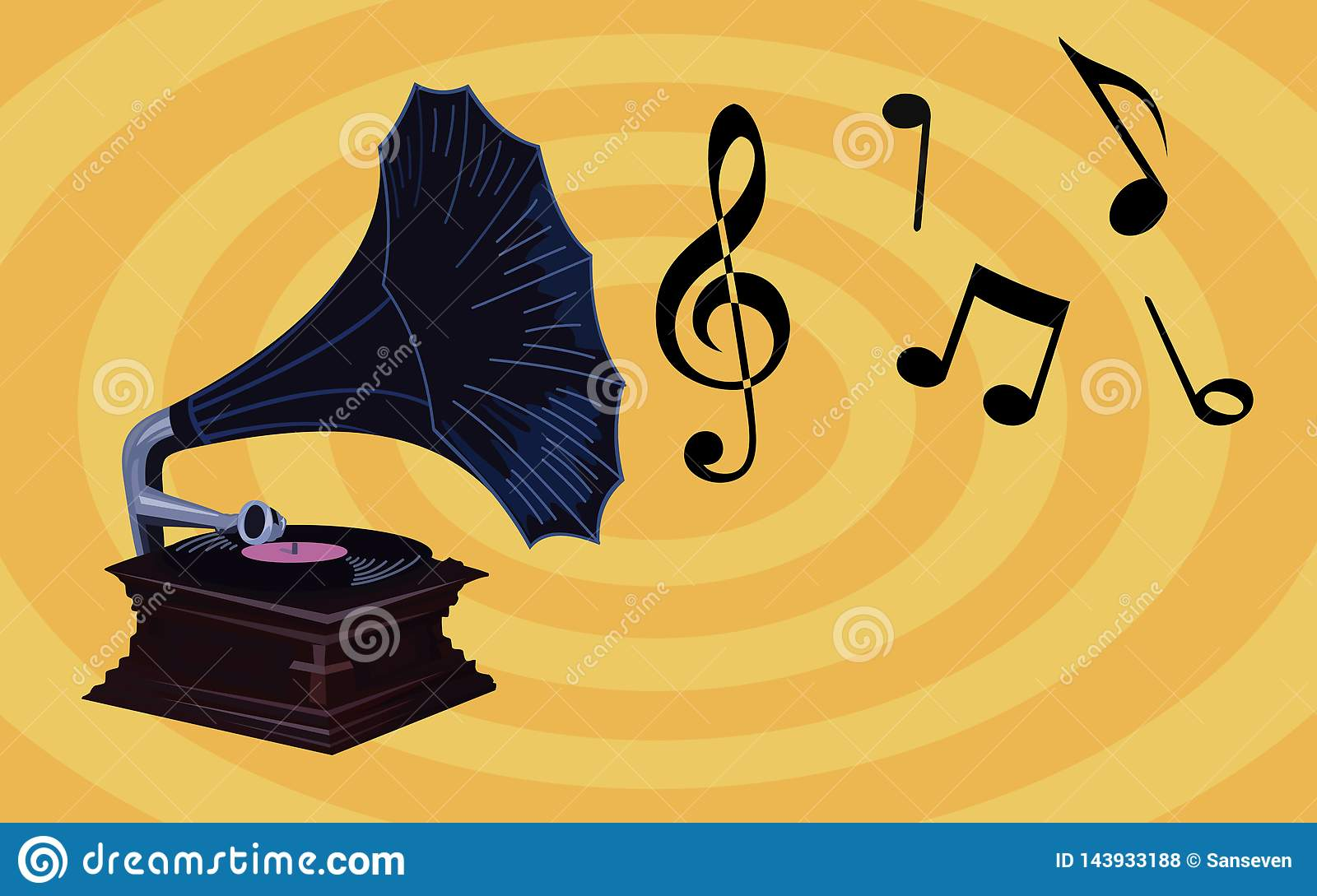 Retro Music Wallpaper Old Gramophone With Music Notes