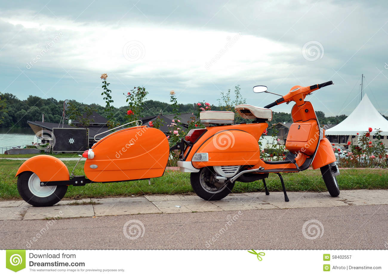 orange retro vespa stock photo image 58402557. Black Bedroom Furniture Sets. Home Design Ideas