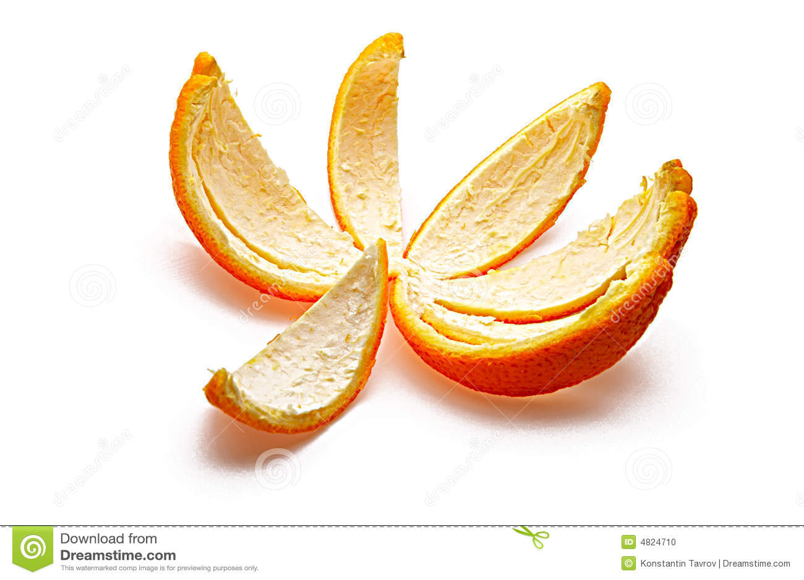 Orange rind isolated on white background.