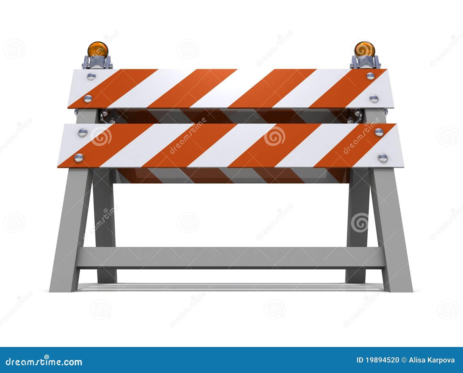 Orange road barrier under consruction stock illustration