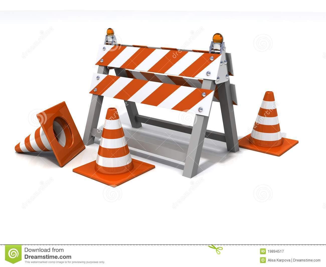 Orange road cones and barrier under consruction royalty