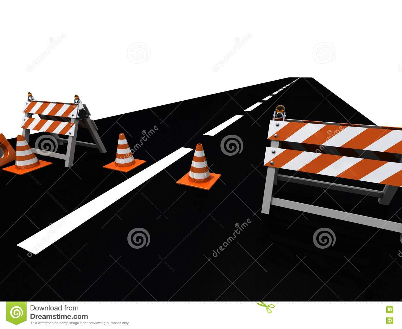Orange road cones and barriers on a stock photo