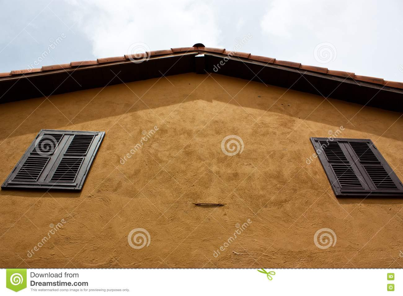 Orange Roof Of The Yellow House Stock Photo Image Of